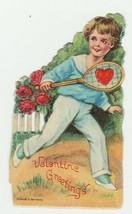 Vintage Valentine Card Boy Plays Tennis 1920's Unused Die-Cut for Child - $8.90