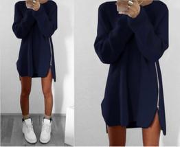 Women Zipper Casual Loose Long Sleeve Knitwear Pullover Jumper Sweater D... - $14.99