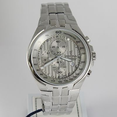 FESTINA WATCH, QUARTZ ROUND 48 MM CASE, GRAY 10 ATM, DATE, CHRONOGRAPH, CHRONO