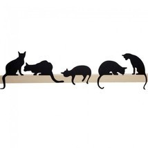 CAT Metal Shelf Decoration Home Original Design Gifts Wall Black Art - $21.04
