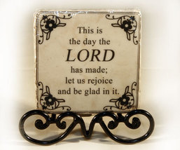 Plaque with Inspirational Verse on Black Metal Stand - $7.99