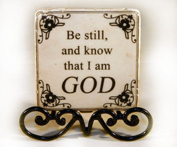 Be Still Inspirational Plaque with Black Metal Stand - $7.99
