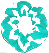Aqua White Wide Chevron Fabric Hair Scrunchie Scrunchies by Sherry Ponyt... - $6.99