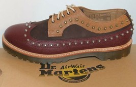 NWT Dr. Marten Men Studded Shoes Dallon Dark Brown Leather Brogue Wingtip Sz 13 - $139.89
