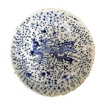 Beautiful Vintage Style Large Blue and White Phoenix Motif Porcelain Pla... - $197.99