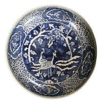 Beautiful Vintage Style Large Blue and White Phoenix Motif Porcelain Pla... - $217.79