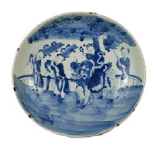 """Vintage Style Large Blue and White Kylin Children Motif Porcelain Plate 13"""" - $178.19"""