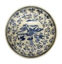 Beautiful Vintage Style Large Blue and White Landscape Motif Porcelain P... - $217.79