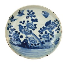 """Beautiful Vintage Style Large Blue and White Bird Motif Porcelain Plate 13"""" - $178.19"""