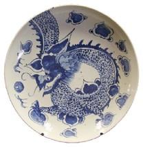 Beautiful Vintage Style Large Blue and White Dragon Motif Porcelain Plat... - $217.79