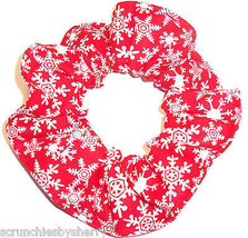 Winter Snowflakes Red Hair Scrunchie Fabric Scrunchies by Sherry Ponytail  - $6.99