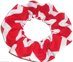 Red White Wide Chevron Fabric Hair Scrunchie Scrunchies by Sherry Ponytail Tie - $6.99