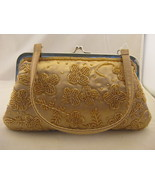 Satin And Beaded Golden Yellow Evening Bag - $11.00