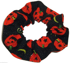 Halloween Pumpkins Glitter Black Fabric Hair Scrunchie Scrunchies by She... - $6.99