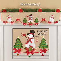 Decorative Snowmen Embroidered Mantel Scarf Christmas Accen - $23.66