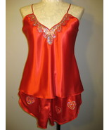 Lingerie Red With Silver Sequins Satin Babydolls XXL - $14.00
