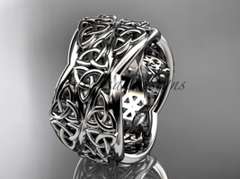 Platinum  celtic trinity knot wedding band, engagement ring CT7352G - $1,750.00
