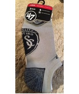 Kansas City Sporting Soccer no show socks Large gray black & white 3 pai... - $8.95