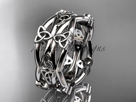 Platinum nm,celtic trinity knot wedding band, engagement ring CT7517G - $1,495.00