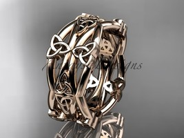14kt rose gold celtic trinity knot wedding band, engagement ring CT7517G - $950.00