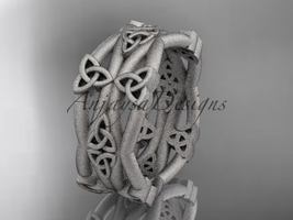 14kt white gold celtic trinity knot , matte finish  engagement ring CT7517G  - $950.00