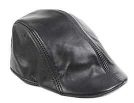 Men's Women's New 100% Leather Black Berets Cap/ Newsboy Hat /leisure caps - $10.99