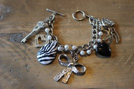 Multi Strand Silver Faux Pearl Rhinestone Choker Bracelet - $13.85