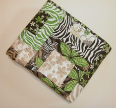 "Animal Print Baby Crib Quilt  Handmade 41"" x 45"" Zebra Green Brown Flowe... - $19.34"