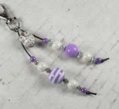 Owl Stripe Bubblegum Handmade Beaded Keychain Purse Charm Purple White S... - $13.96