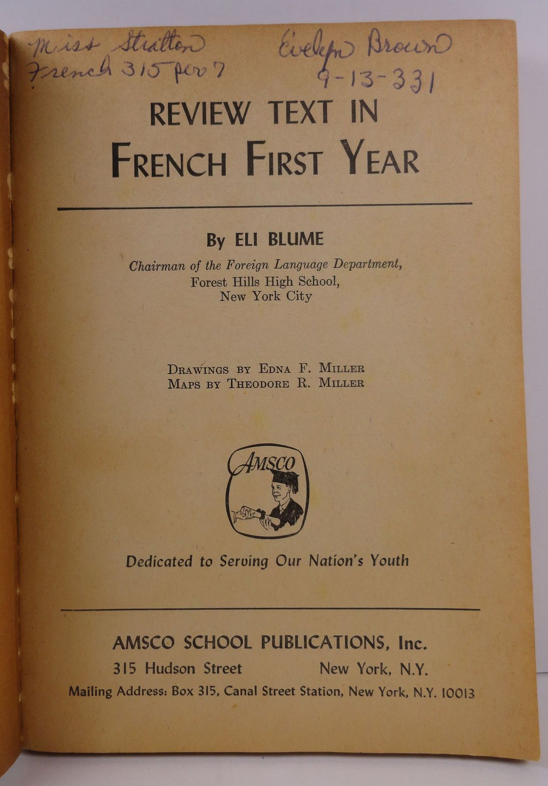 Review Text in French First Year by Eli Blume Amsco School