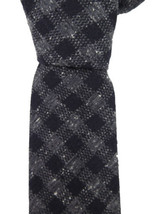 Canali Italy Black Gray Check Plaid 100% Silk Skinny Neck Tie 3 Inches - $138.60