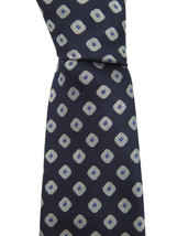 Canali Men's Blue Silver Geometric Print 100% Silk Skinny Neck Tie - $138.60