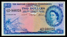 "BRITISH CARIBBEAN TERRITORIES P8c $2 ""MAP NOTE"" 1964 RAW XF! EXTREMELY R... - $595.00"