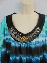 New Direction Blue Green Black Jeweled Neck Short Sleeve Batwing Knit To... - $13.99