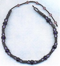 Dark Amethyst Beaded Daisy Chain Necklace - $16.99