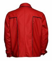 Men Elvis Presely King of Rock & Roll Rockstar Red Leather Jacket image 3