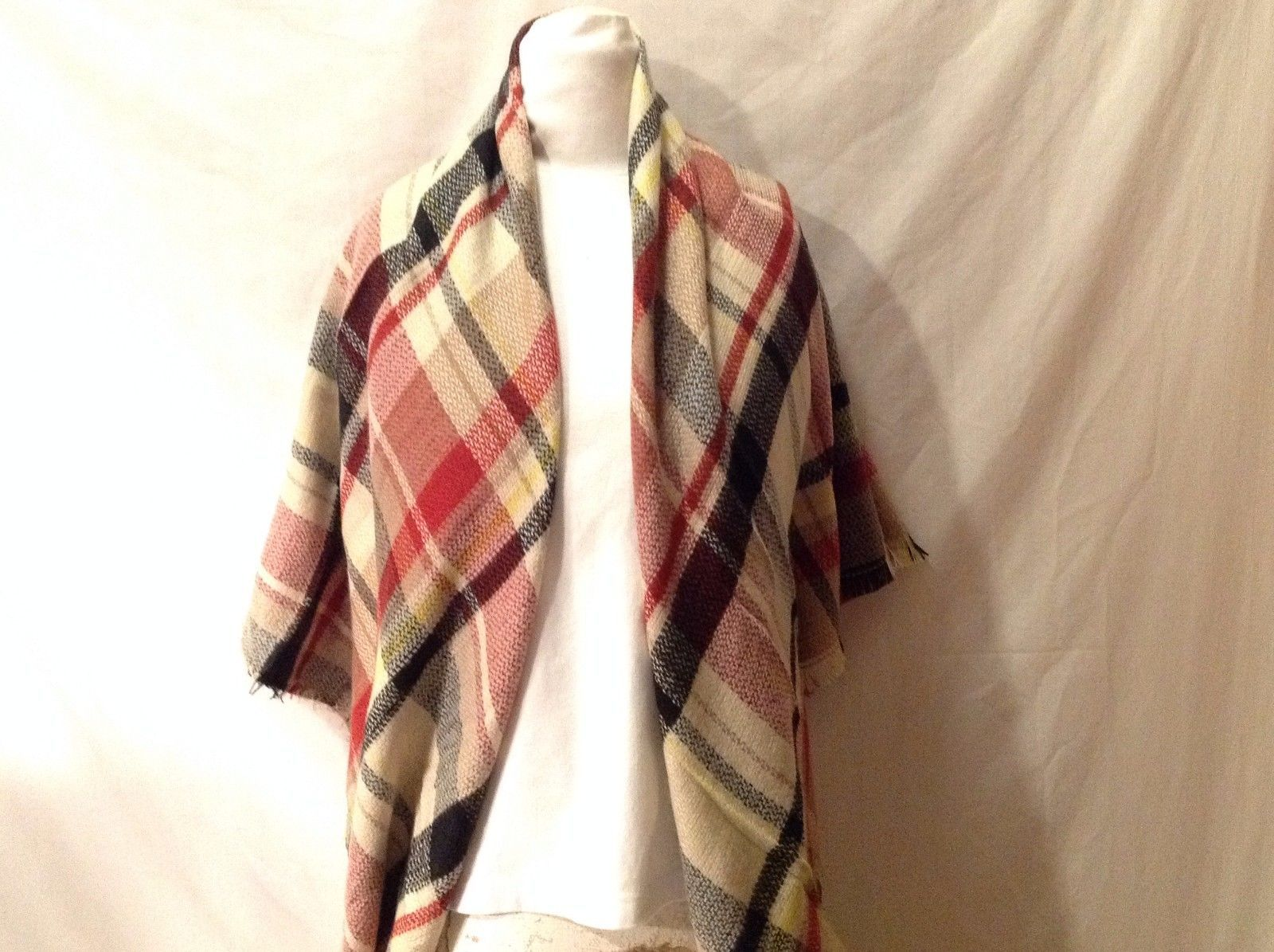 Plaid Pattern Blanket Scarf With Base Color Tan Black Red Yellow Fringe On Edges
