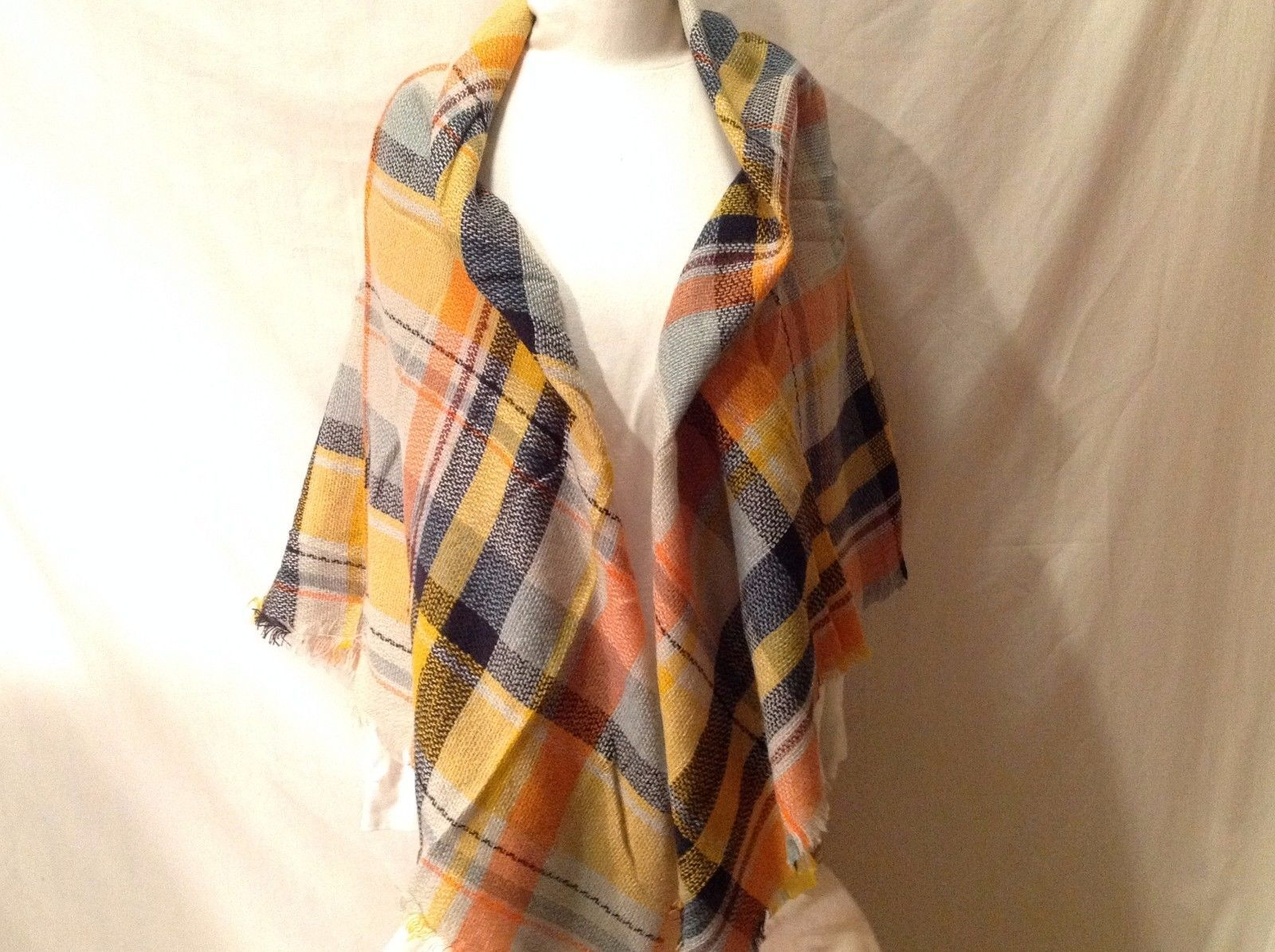 Plaid Pattern Blanket Scarf With Navy Blue Orange Yellow Light Blue Burgundy Red