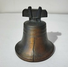 """Vintage Metal Coin Piggy Bank Liberty Bell 4-1/8"""" High Copper.  3-3/4"""" w... - $22.44"""