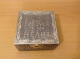 Wood and Metal Forever In My Heart Cottage Garden Handcrafted Trinket Bo... - $39.99