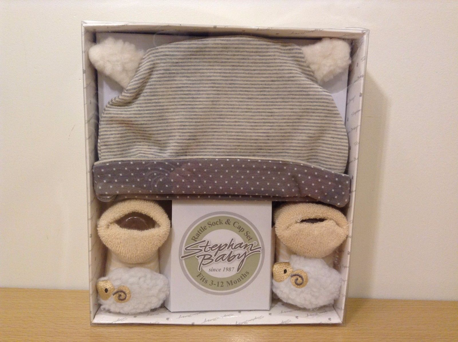 Stephan Baby Lamb Rattle Socks Cap Set New In Box 3-12 Months Gray Beige