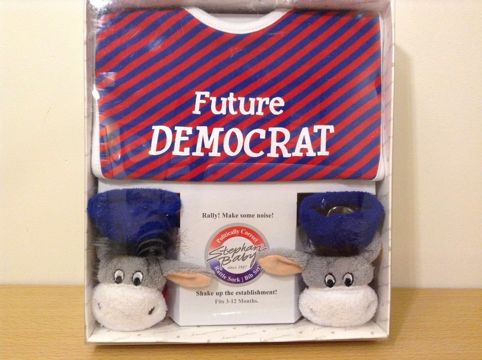 Stephan Baby Future Democrat Rattle Socks Bib Set New In Box 3-12 Months