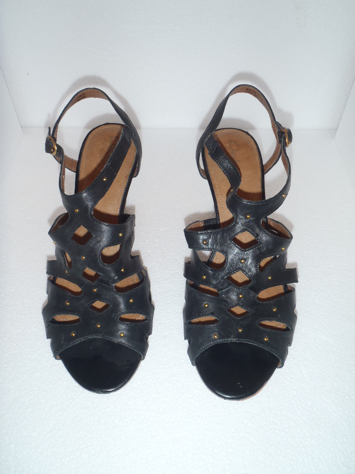40185965dbd3 57. 57. Previous. Clarks Artisan 10 M Ankle Black Leather Gold Studded Cork  Wedge SANDALS 64130