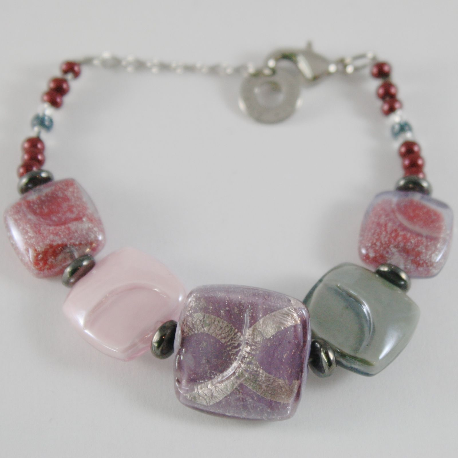 BRACELET ANTICA MURRINA VENEZIA WITH MURANO GLASS PINK, GRAY PURPLE BR729A11