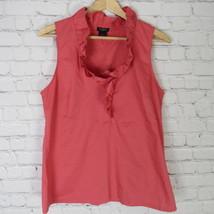 Ann Taylor Blouse Shirt Top Womens Size 10 Pink Sleeveless Ruffles D34 - $18.53