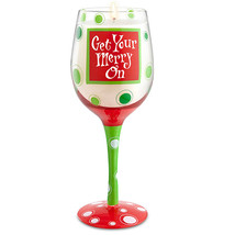 """Get Your Merry On"" Hand-Decorated Wine Glass Candle Wine Lovers Christmas Gift - $24.99"