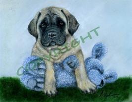 Mastiff Puppy In Blue - $18.00