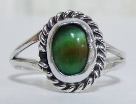 Sterling Silver 925 Green Tiger's Eye Cabochon Ring Sz 4.5 Ladies Delica... - $24.99