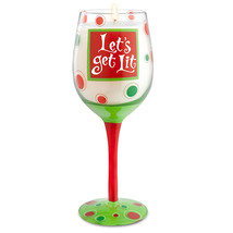 """Let's Get Lit"" Hand-Decorated Wine Glass Candle Wine Lovers Christmas Gift - $24.99"