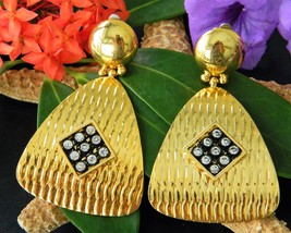 Vintage Gold Black Textured Earrings Rhinestones Dangle Drop Clip-On - $18.95